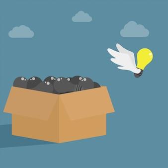 Idée s'envolant de la boîte. symbole de penser hors de la boîte.