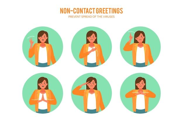 Idée de salutations sans contact