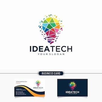 Idée de technologie de logo numérique ampoule et carte de visite