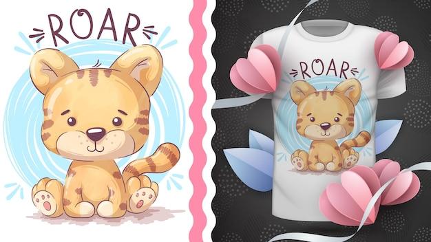 Idée de tigre animal de personnage de dessin animé enfantin pour tshirt imprimé hand draw