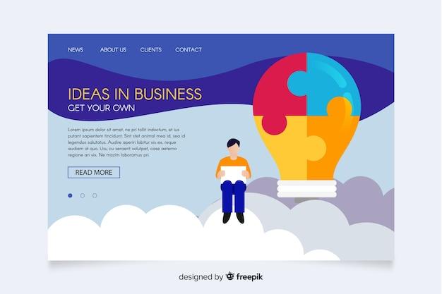 Idées en affaires illustrées page de destination