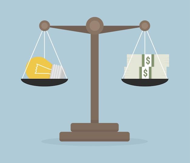 Idées d'ampoule et balance d'argent sur l'échelle.