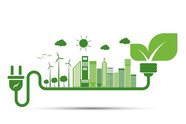 Des idées d'énergie sauvent le monde concept power plug green ecology