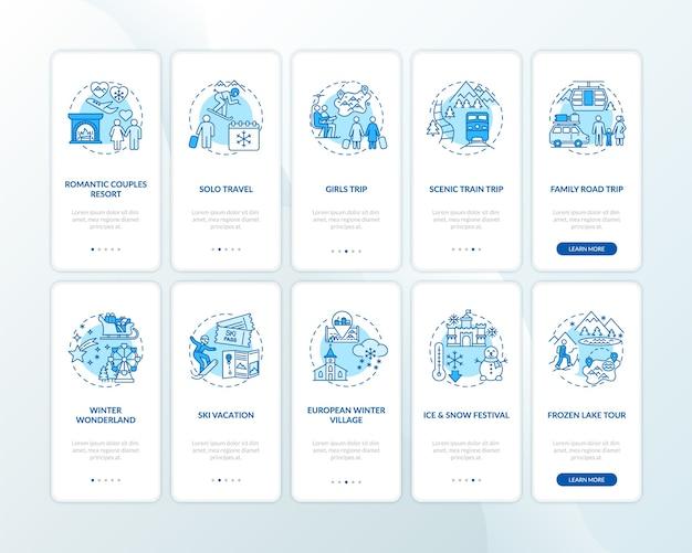 Idées et lieux de vacances d'hiver sur l'écran de la page de l'application mobile avec ensemble de concepts