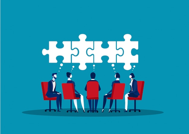 Idées de partage d'affaires en équipe dans la salle de bureau