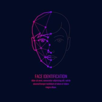 Identification biométrique d'une personne. graphiques vectoriels d'une tête de filles.