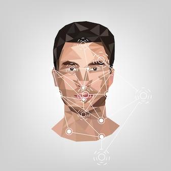 Identification biométrique sur le visage dans le style de l'illustration vectorielle low poly