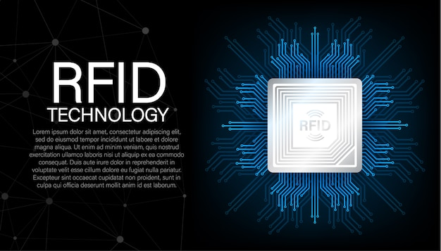 Identification par radiofréquence rfid. concept technologique. technologie digitale. illustration de stock.