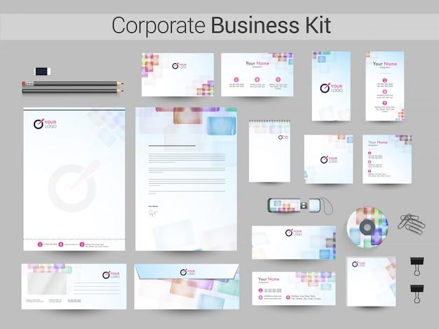 Identité corporative avec un design abstrait coloré.