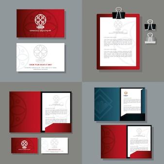 Identité d'entreprise maquette de marque, fournitures de papeterie maquette, couleur rouge avec signe blanc