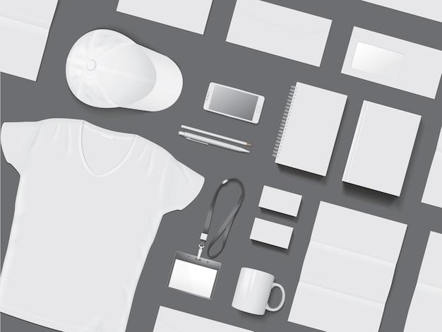 Identité d'entreprise sur une maquette de vecteur de fond sombre
