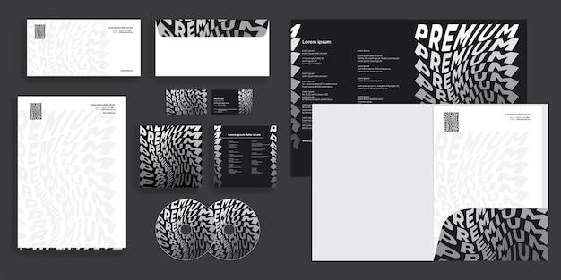 Identité d'entreprise moderne abstraite premium noir et blanc stationnaire