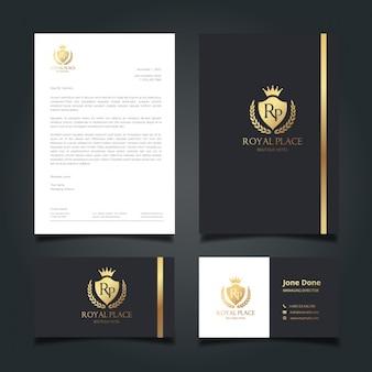 Identité d'entreprise noir et or élégant
