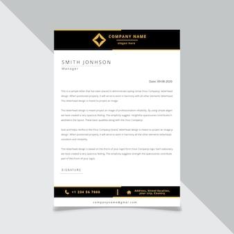 Identité d'entreprise noire papier à en-tête pour le format modifiable de votre entreprise