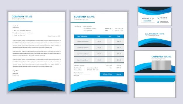 Identité d'entreprise de papeterie moderne avec modèle de facture et carte de visite
