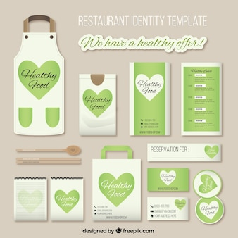 Identité de l'entreprise pour le restaurant avec le coeur vert