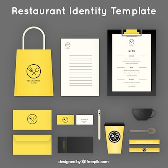 Identité de l'entreprise pour le restaurant jaune