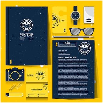Identité d'entreprise sertie d'espace bleu et jaune explorer le concept