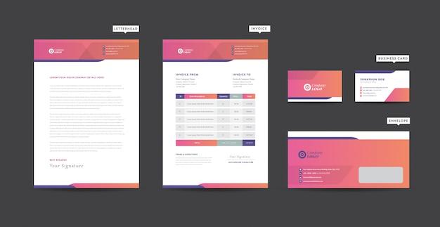 Identité de marque d'entreprise | conception de papeterie | papier à en-tête | carte de visite | facture | enveloppe | conception de démarrage