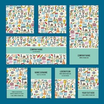 Identité visuelle de conception définie sur le thème de l'entreprise avec des griffonnages abstraits.