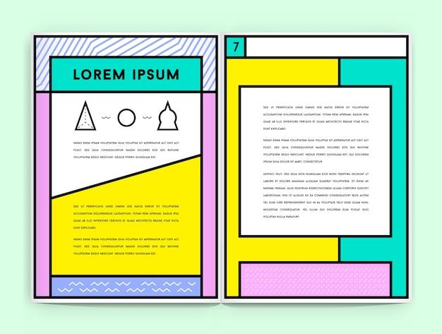 Identité visuelle dans la nouvelle conception géométrique de style de ligne grasse avec des noms et du texte fictifs