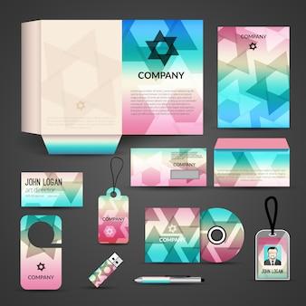 Identité visuelle, modèle de marque. carte de visite, couverture, enveloppe, cd, dvd, usb, carte d'identité, dossier, stylo