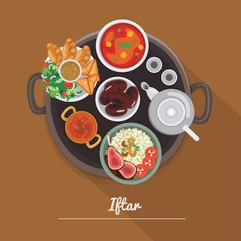 Iftar food ramadan flat design illustration