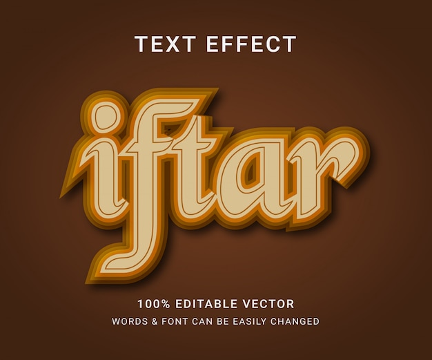 Iftar full editable text effect
