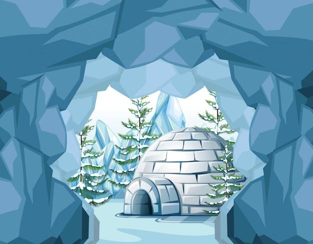 Igloo dans le pôle nord