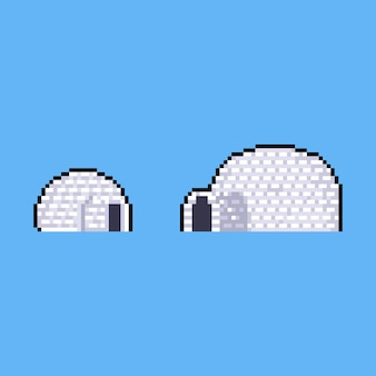 Igloo de dessin animé de pixel art.