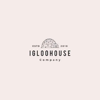Igloo house logo hipster retro