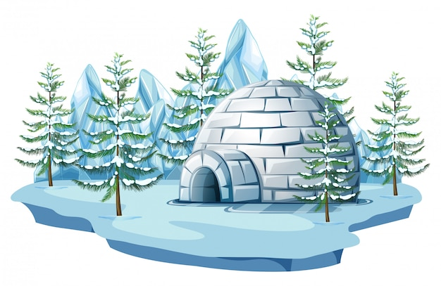 Igloo à la terre arctique