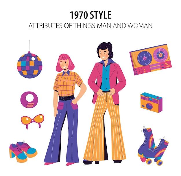 Iillustration de style de mode 1970