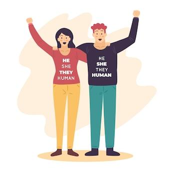 Il elle, ils mouvement humain non sexiste