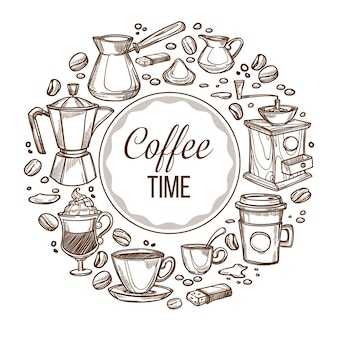 Il est temps de boire du café, bannière arrondie avec tasse de boisson, haricots et cezve