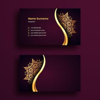Il s'agit d'un modèle de conception de carte de visite de luxe avec fond de mandala ornemental de luxe arabesque
