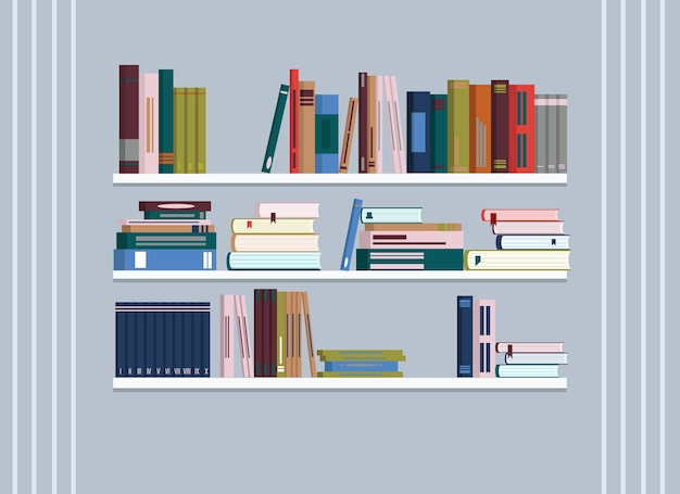 Il y a des étagères au mur avec beaucoup de livres.