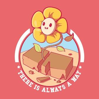 Il y a toujours une illustration de fleur de manière concept de conception d'inspiration de motivation de nature