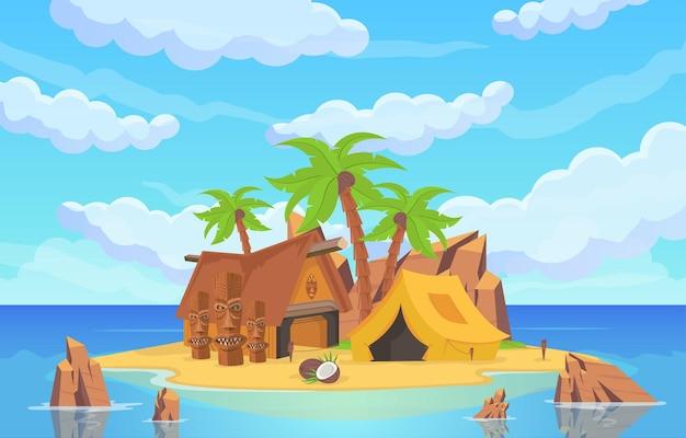 Île dans la mer avec statues, tentes et maisons rituelles entourées d'eau de mer et de ciel bleu au-dessus. paysage marin de dessin animé de vecteur avec des palmiers et des montagnes rocheuses sur la plage de sable