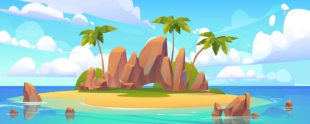 Île dans l'océan, île inhabitée avec plage de sable