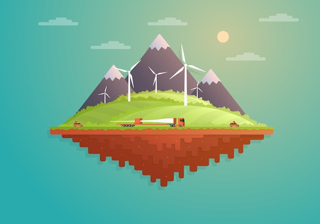 Île de dessin animé plat avec ferme éolienne.