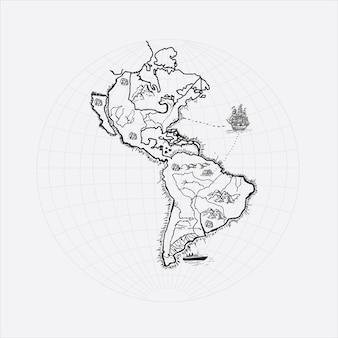 Île avec dessin à la main vintage