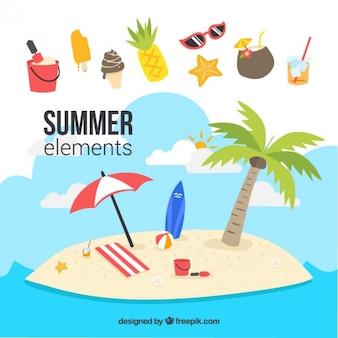 Île avec des éléments d'été