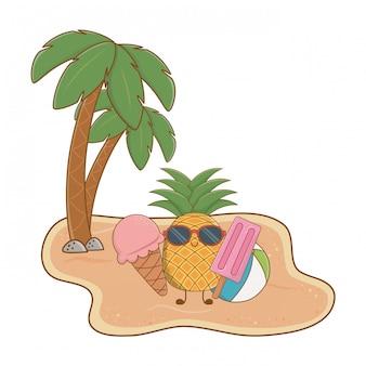 Île d'été et plage avec un joli personnage d'ananas