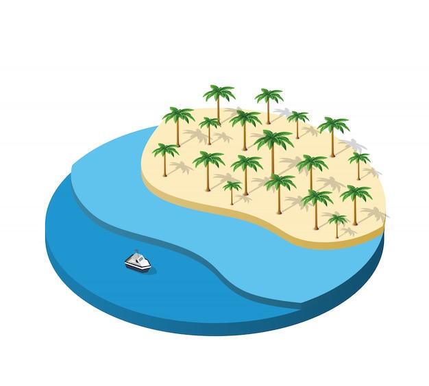Île isométrique d'illustration avec le palmier