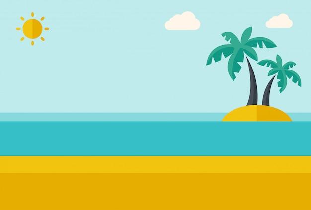 Île de la mer tropicale avec des palmiers.