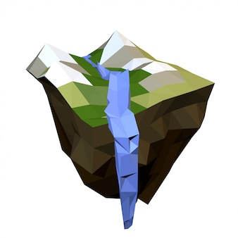 L'île avec les montagnes et la chute de la rivière de montagne isolée