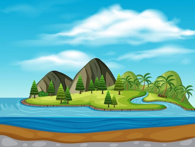 Île avec des montagnes et des rivières