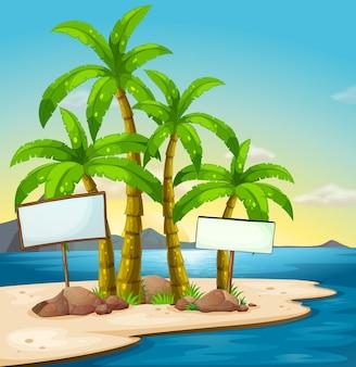 Une île avec des panneaux