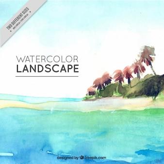Île peint à l'aquarelle